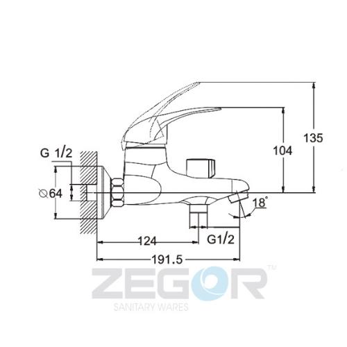Смеситель для ванны ZEGOR (TROYA) SEA-А112 (Z31-SEA-A112)