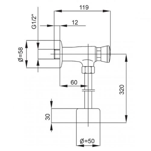 Смывное устройство для писсуара KFA ARMATURA 183-000-00