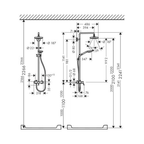 Душевая система Hansgrohe Croma Select S 27253400