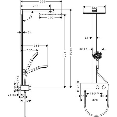 Душевая система Hansgrohe Raindance E Showerpipe 27361000