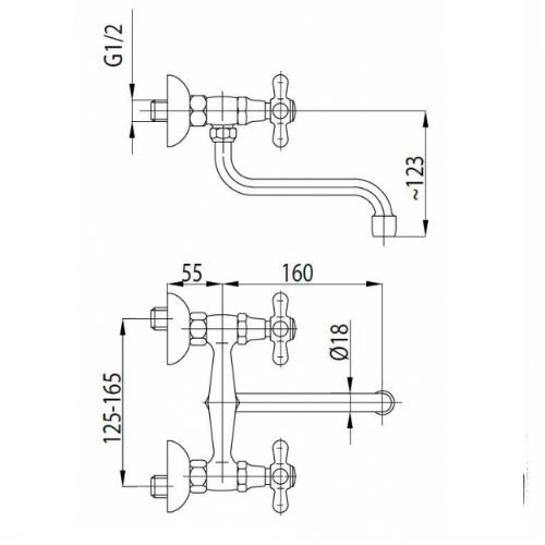Смеситель для кухни Armatura Retro 370-440-00