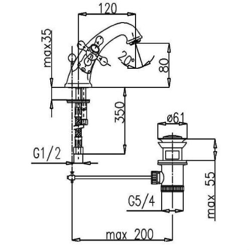 Смеситель для раковины Armatura Retro 372-844-00