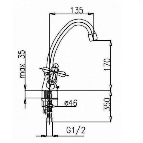 Смеситель для кухни Armatura Retro 373-444-00