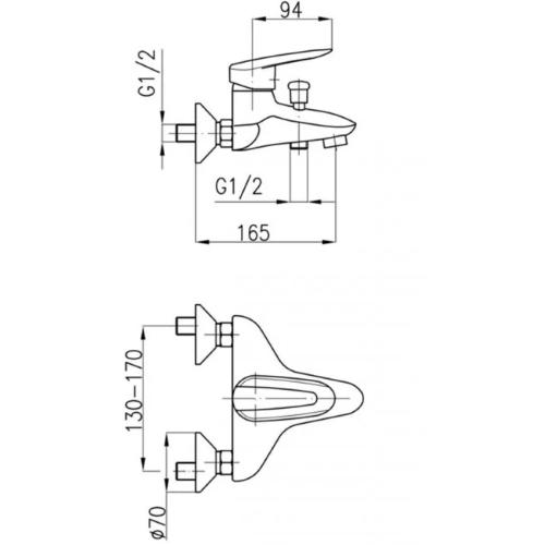 Смеситель для ванны KFA ARMATURA SALIT 4504-010-00