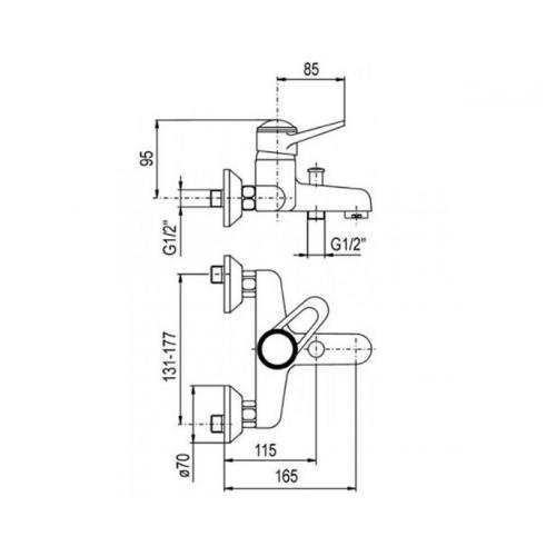 Смеситель для ванны KFA ARMATURA NEFRYT 504-010-00