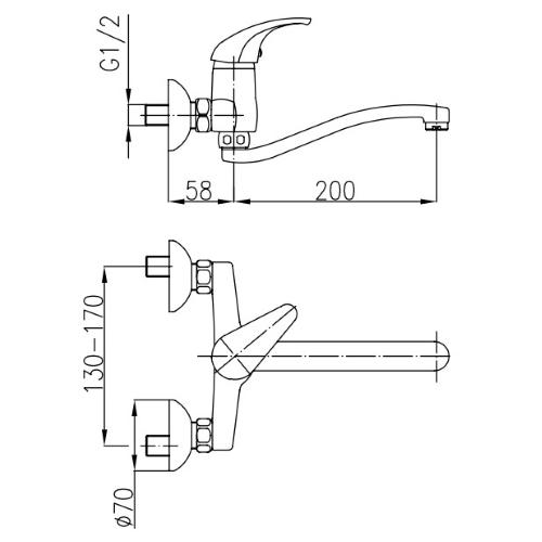 Смеситель для кухни настенный KFA ARMATURA Baryt 550-910-00