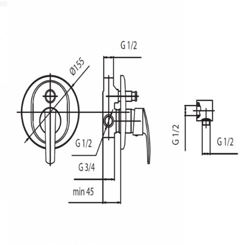 Смеситель скрытого монтажа для ванны KFA Rubin Premium Class 569-410-00