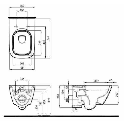 Комплект: MODO Rimfree унитаз подвесной, Geberit Duofix 3в1, сидение Duroplast soft-close 458.126+L33120000+L30112000