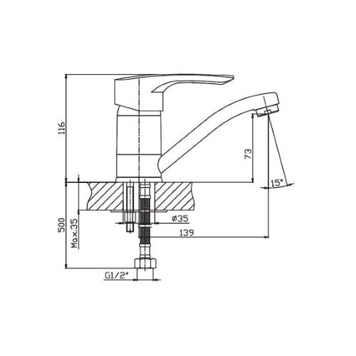 Смеситель для кухни HAIBA HANSBERG 004-15 СМ BLACK HB0185