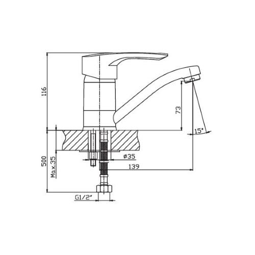 Смеситель для кухни HAIBA HANSBERG 004-15 СМ COFFEE HB0186