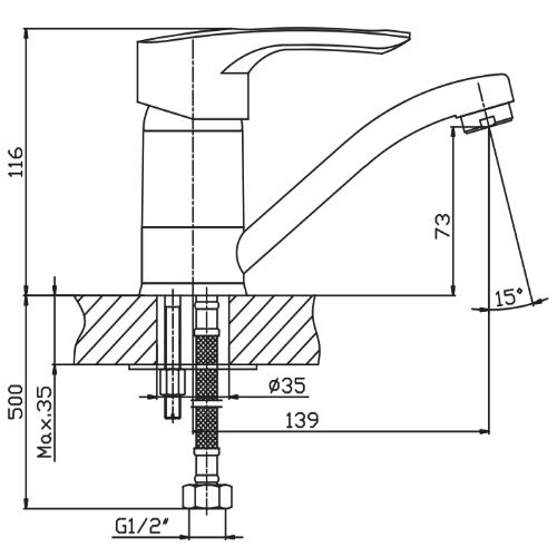 Смеситель для умывальника HAIBA HANSBERG 004-15 СМ HB0191