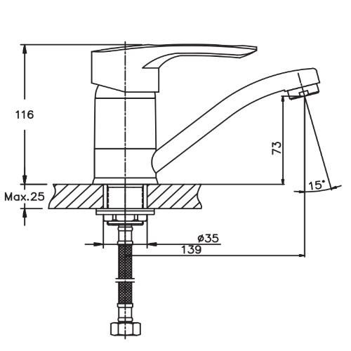 Смеситель для кухни HAIBA HANSBERG 555-15 СМ HB0215