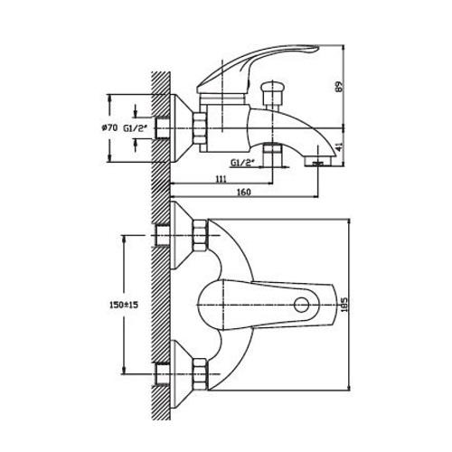 Смеситель для ванны HAIBA MARS 009 SATIN HB0258
