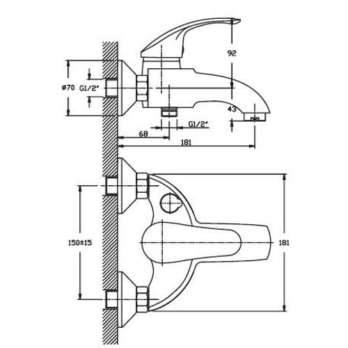 Смеситель для ванны HAIBA MARS 009 EURO SATIN HB0260