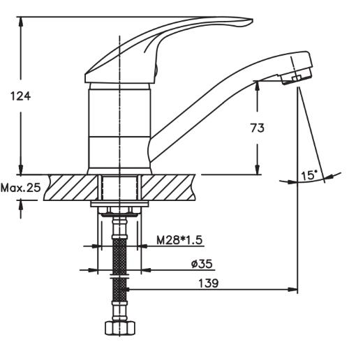 Смеситель для умывальника HAIBA MARS 555-15 CM HB0269