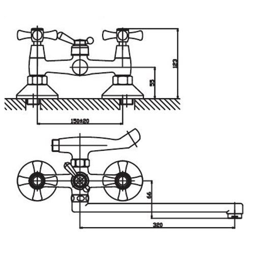 Смеситель для ванны HAIBA SMES 143 HB0368