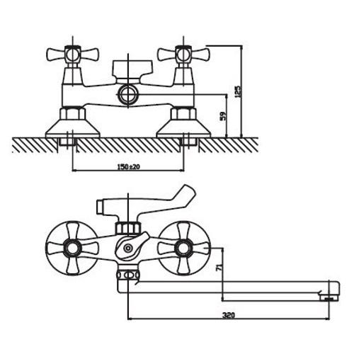 Смеситель для ванны HAIBA SMES 150 HB0369