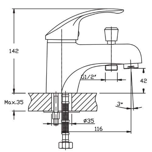 Смеситель для умывальника HAIBA MARS 001 (SH) HB0657