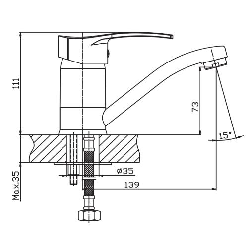 Смеситель для умывальника HAIBA ONIX 004-15СМ HB0768