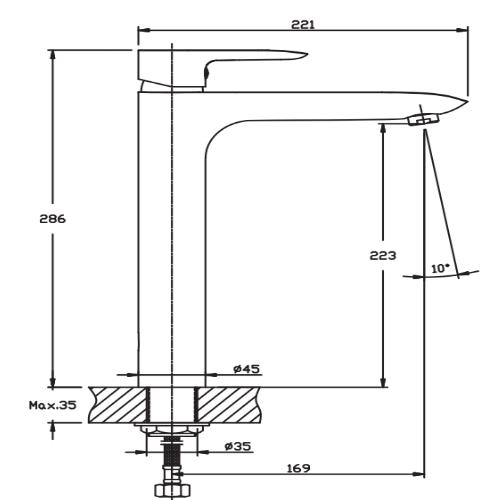 Смеситель для чаши HAIBA COLUMBIA 001 (HIGH) HB0840