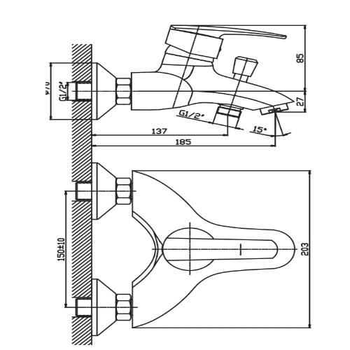 Смеситель для ванны HAIBA AGAT 009 EURO HB0894