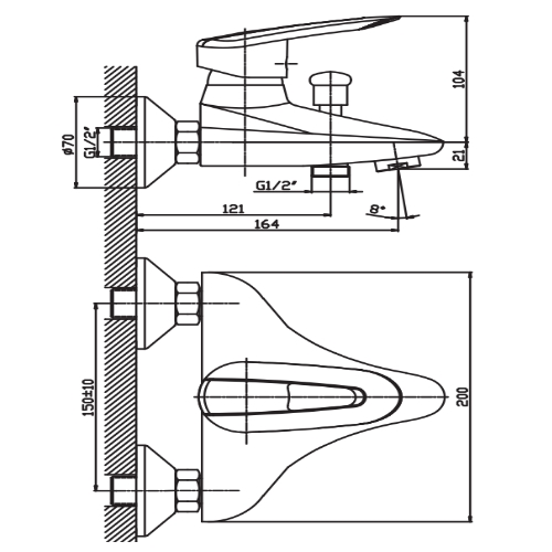 Смеситель для ванны HAIBA DISK 009 EURO HB0895