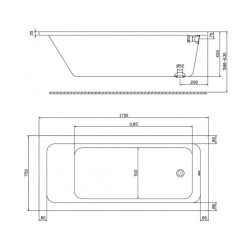 Ванна акриловая KOLO MODO XWP1170000