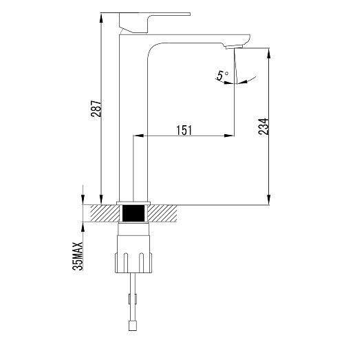 BILOVEC смеситель для раковины высокий, хром, 35мм 05255-H IMPRESE
