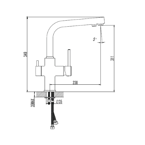Смеситель двухканальный для питьевой и фильтрованой воды DAICY 55009B-F черный Imprese