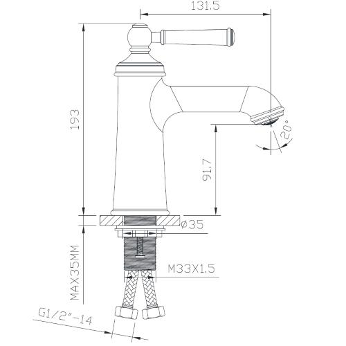 Смеситель для раковины ZMK031806010 HYDRANT никель Imprese