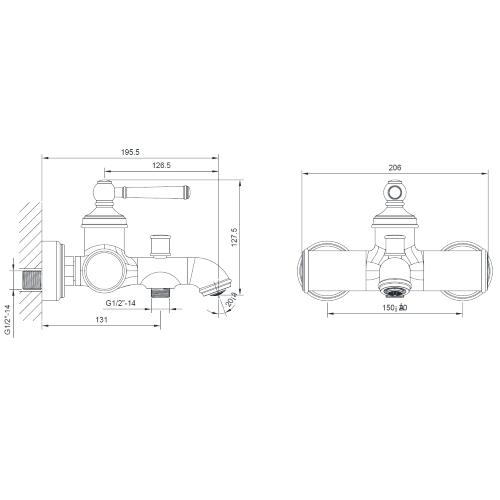 Смеситель для ванны ZMK031806040 HYDRANT никель Imprese