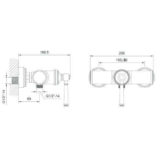 Смеситель для душа ZMK031806080 HYDRANT никель Imprese