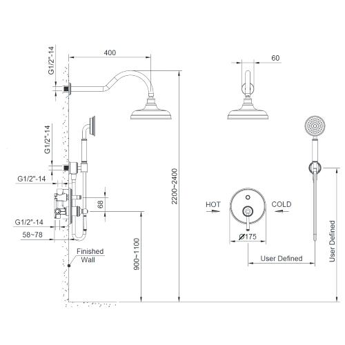Комплект скрытого монтажа для душа ZMK031806110 HYDRANT никель Imprese