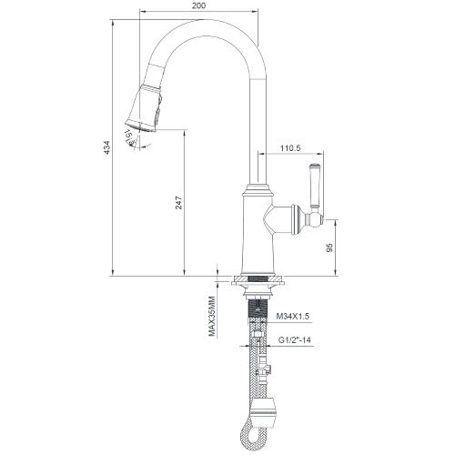 Смеситель для кухни с выдвижной лейкой ZMK031806150 HYDRANT никель Imprese