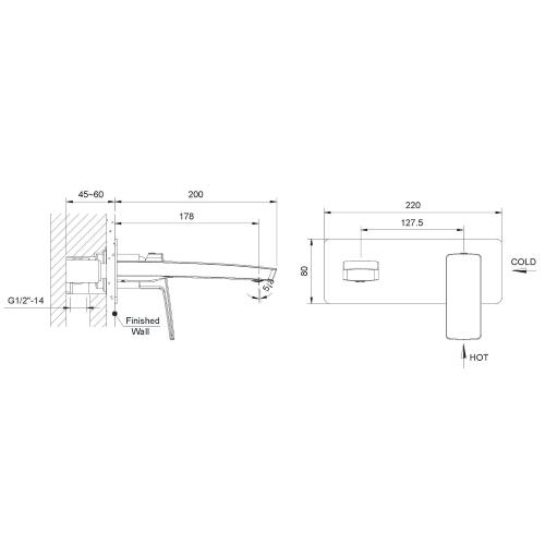 Смеситель для раковины скрытого монтажа GRAFIKY ZMK041807030 чёрный никель Imprese