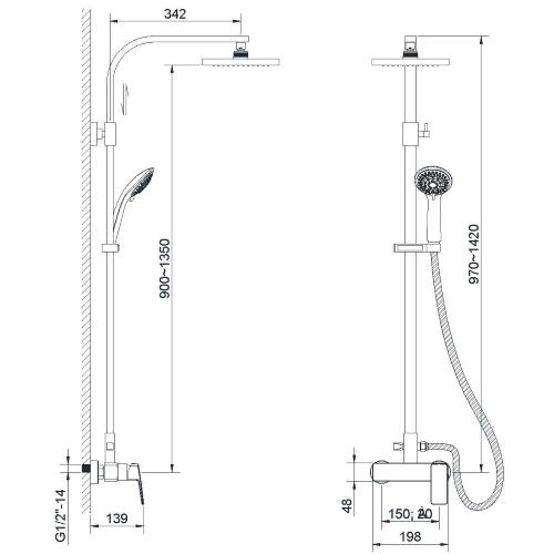 Душевая система — смеситель для душа верхний и ручной душ ZMK041807090 GRAFIKY чёрный никель Imprese