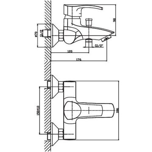 Смеситель для ванны HAIBA FOCUS 009 НЕРЖ HB0122