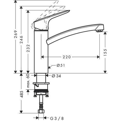 Смеситель для кухни Hansgrohe MySport M  13861800