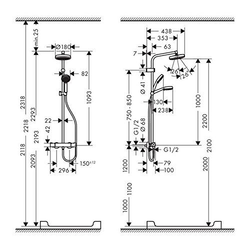 Душевая система Hansgrohe Showerpipe MyClub 26738400