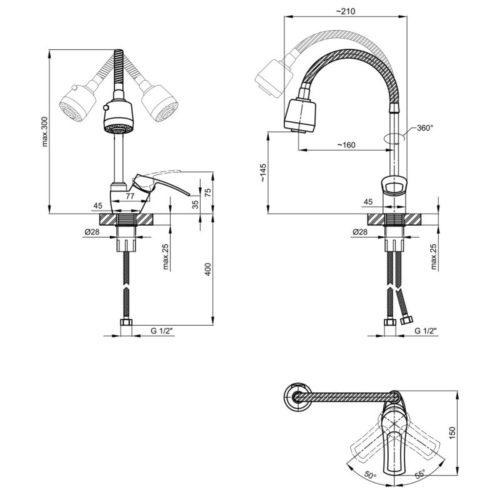Смеситель для кухни с рефлекторним изливом Lidz (CRM) 22 40 008 04 SD00041230