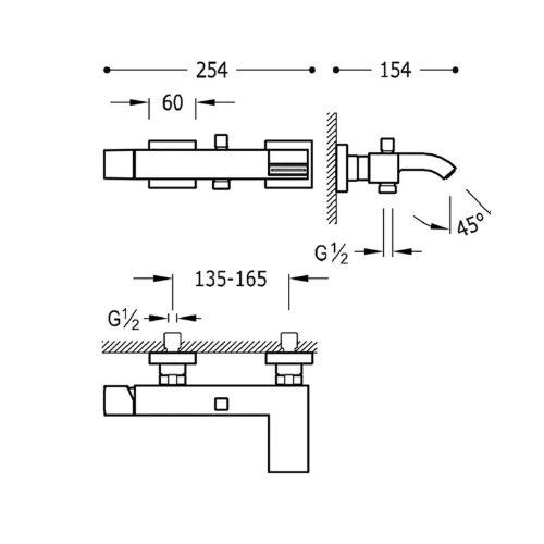 Смеситель для ванны TRES CUADRO 10717002