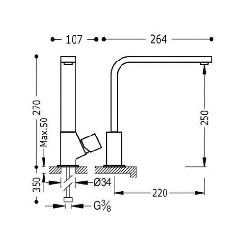 Кухонный смеситель TRES CUADRO 107440