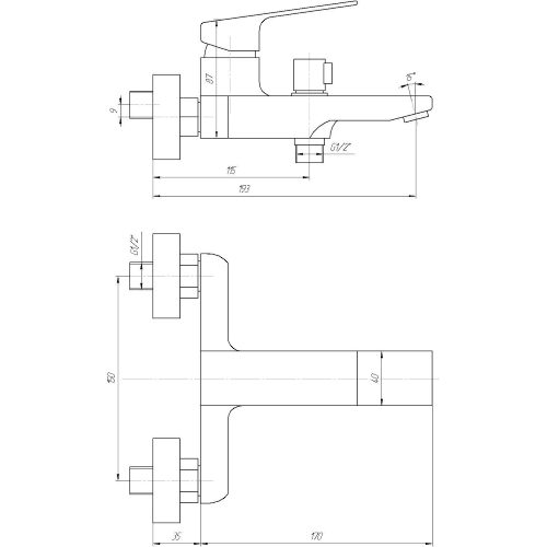 Смеситель для ванны TOPAZ ODISS-TO 18101-H52