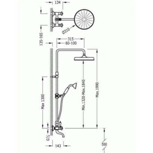 Душевая система TRES RETRO 524290701