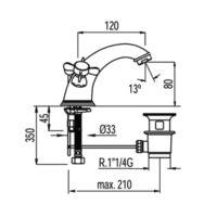 Смеситель для раковины TRES RETRO 5291030161