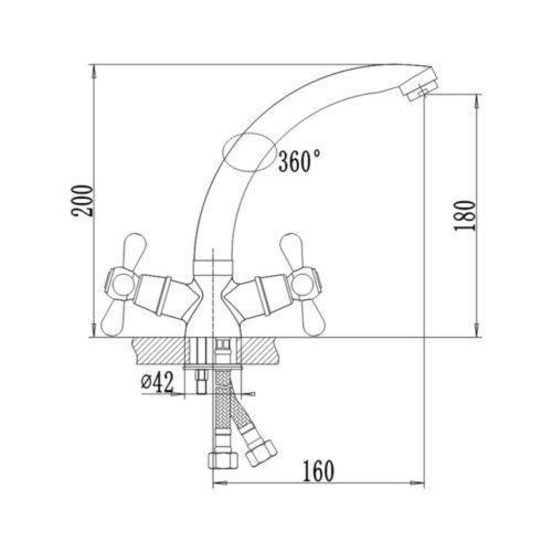 Кухонный смеситель Q-tap Mayfair CRM-272 Ceramic