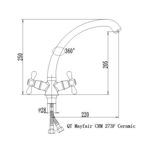 Кухонный смеситель Q-tap Mayfair CRM-273f Ceramic