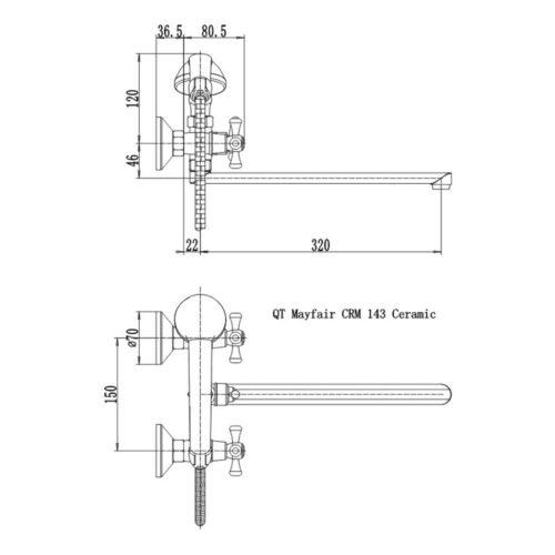 Смеситель для ванны Q-tap Mayfair CRM-143 Ceramic