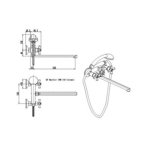 Смеситель для ванны Q-tap Mayfair CRM-143 Classic