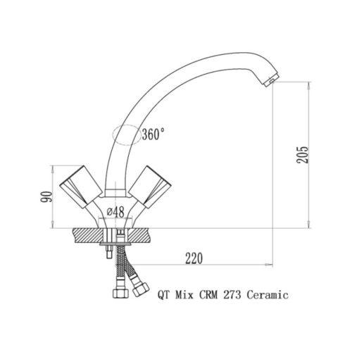 Кухонный смеситель Q-tap Mix CRM-273 Ceramic